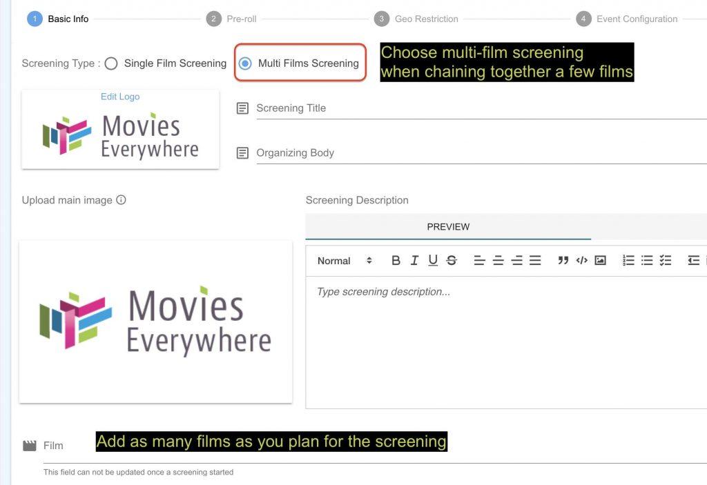 Multi film screening in movies Everywhere
