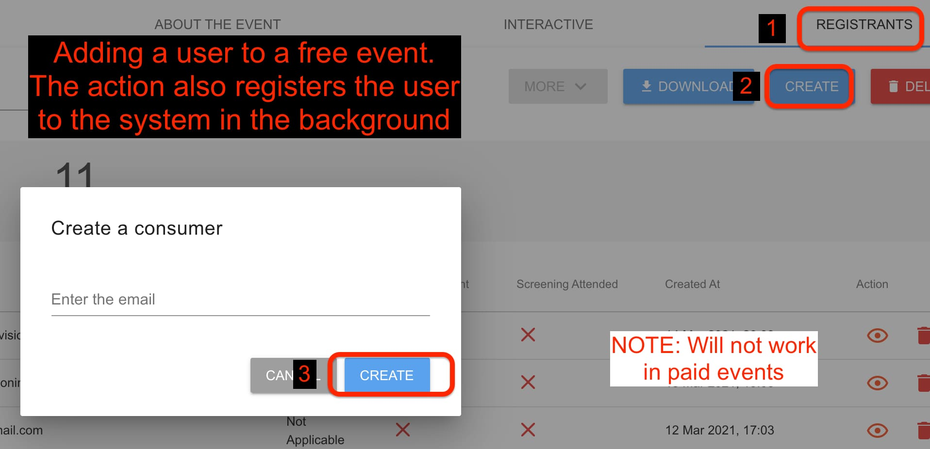 Create a user is free event